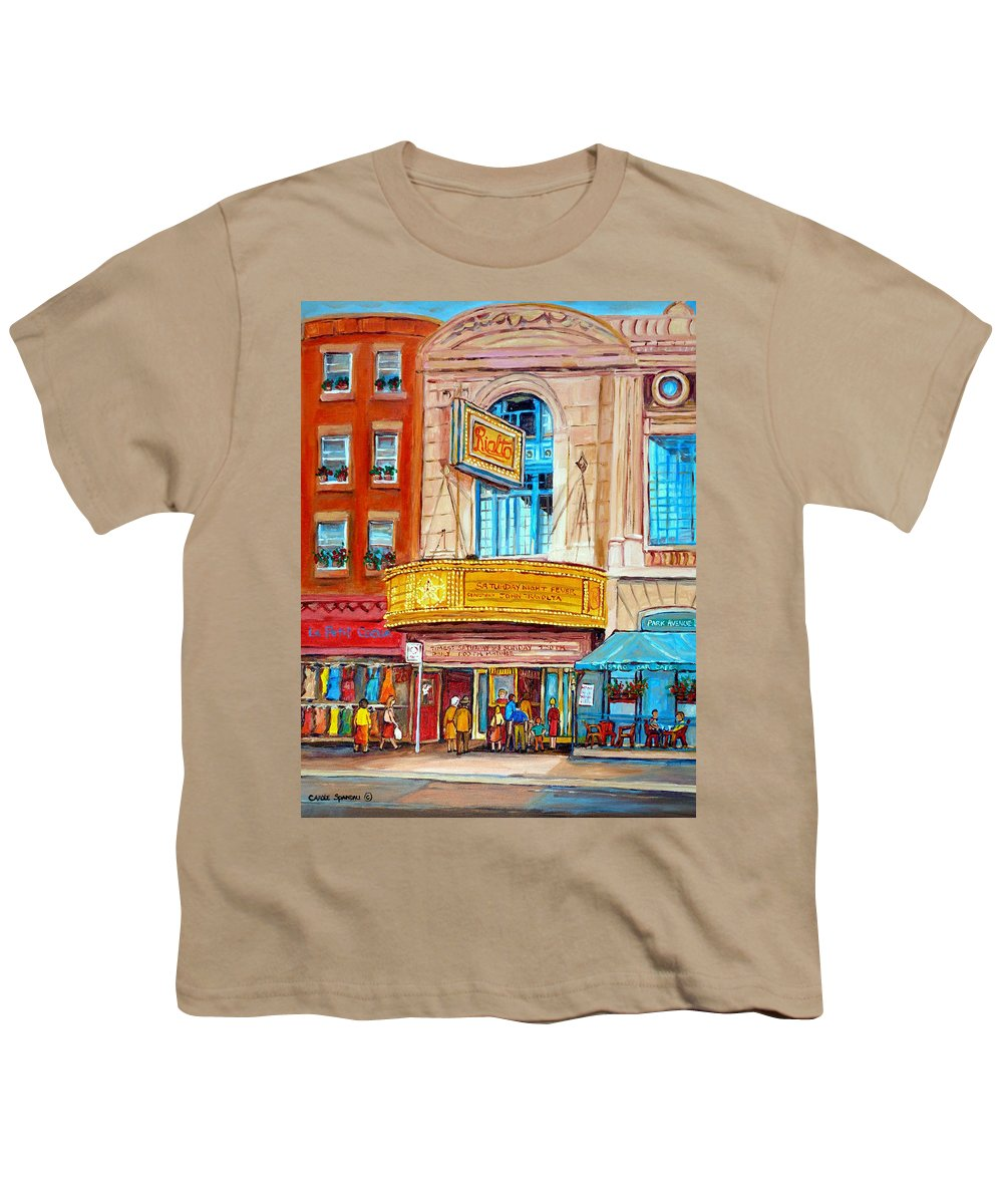 Montreal Youth T-Shirt featuring the painting The Rialto Theatre Montreal by Carole Spandau