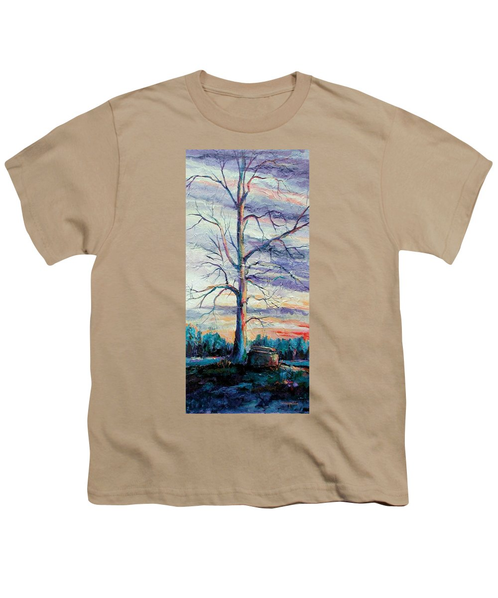 Lone Tree Youth T-Shirt featuring the painting The Sentinel by Ginger Concepcion