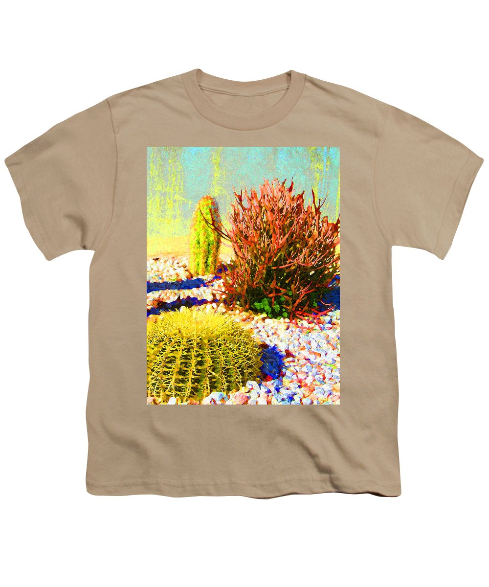 Landscape Youth T-Shirt featuring the painting Three Cacti by Amy Vangsgard