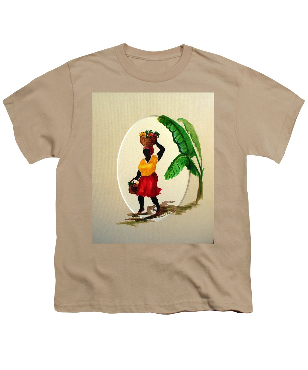 Caribbean Market Womanfruit & Veg Youth T-Shirt featuring the painting To Market by Karin Dawn Kelshall- Best