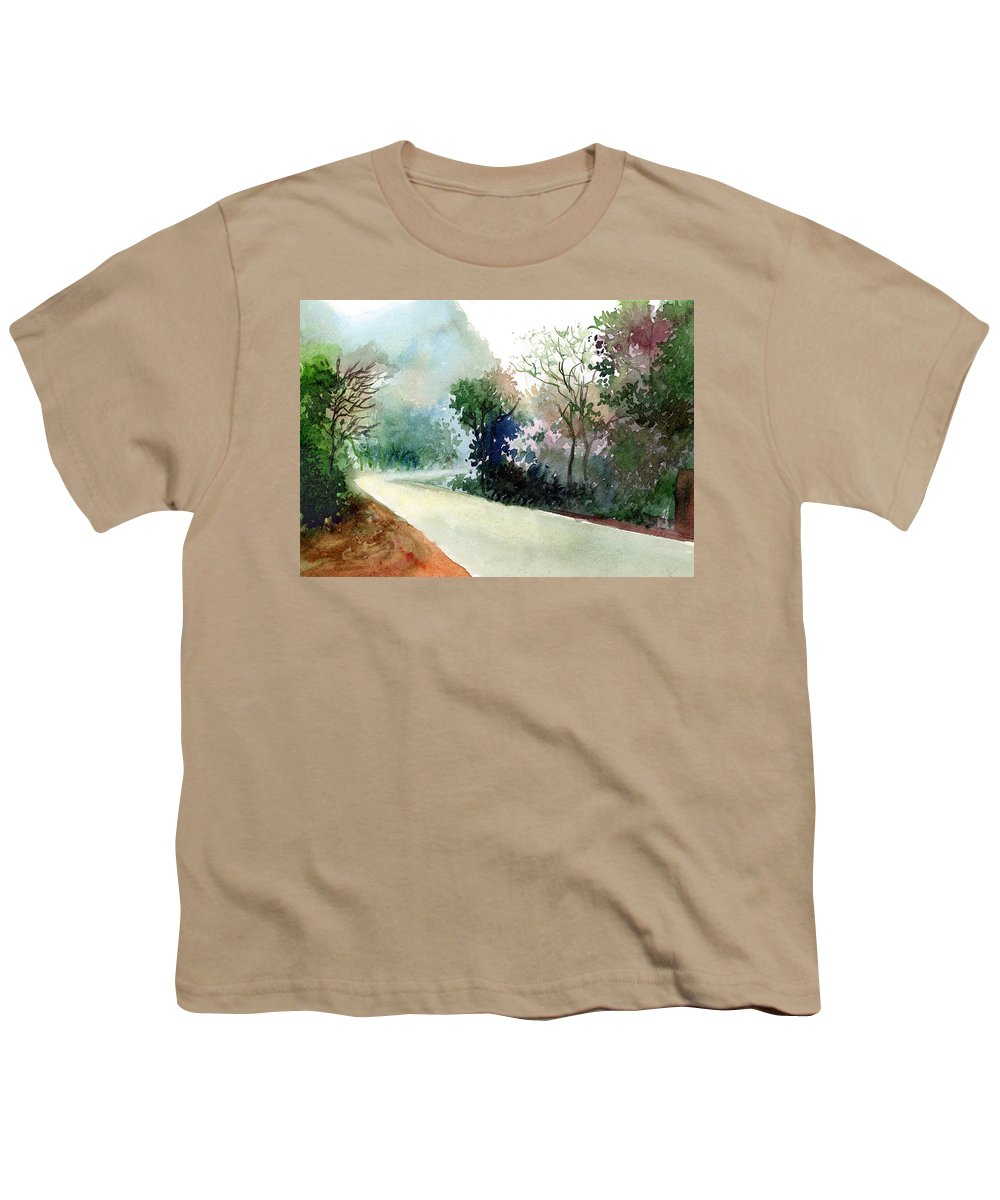 Landscape Water Color Nature Greenery Light Pathway Youth T-Shirt featuring the painting Turn Right by Anil Nene