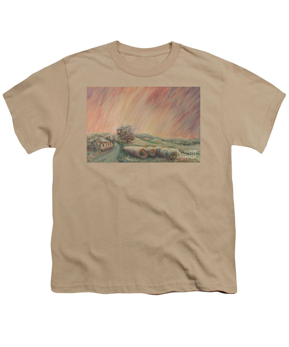 Landscape Youth T-Shirt featuring the painting Tuscany Hayfields by Nadine Rippelmeyer