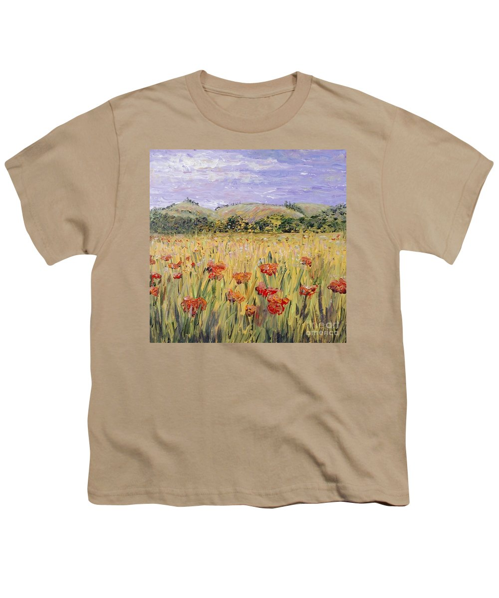 Poppies Youth T-Shirt featuring the painting Tuscany Poppies by Nadine Rippelmeyer