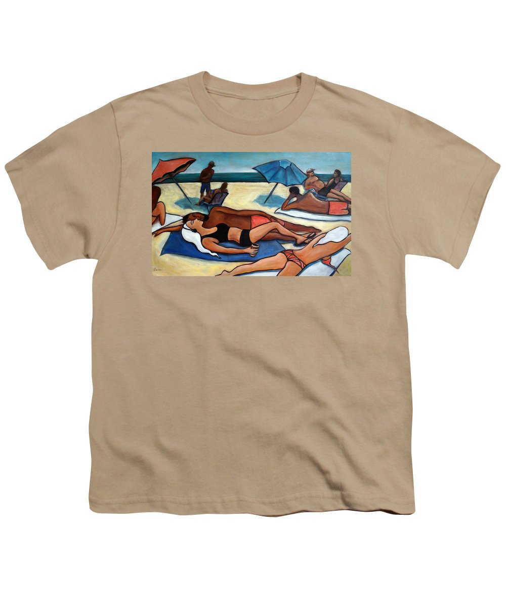 Beach Scene Youth T-Shirt featuring the painting Un Journee A La Plage by Valerie Vescovi
