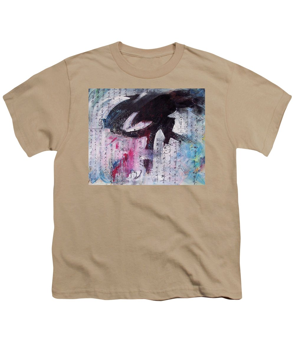 Peom Paintings Paintings Youth T-Shirt featuring the painting Unread Poem Black And White Paintings by Seon-Jeong Kim