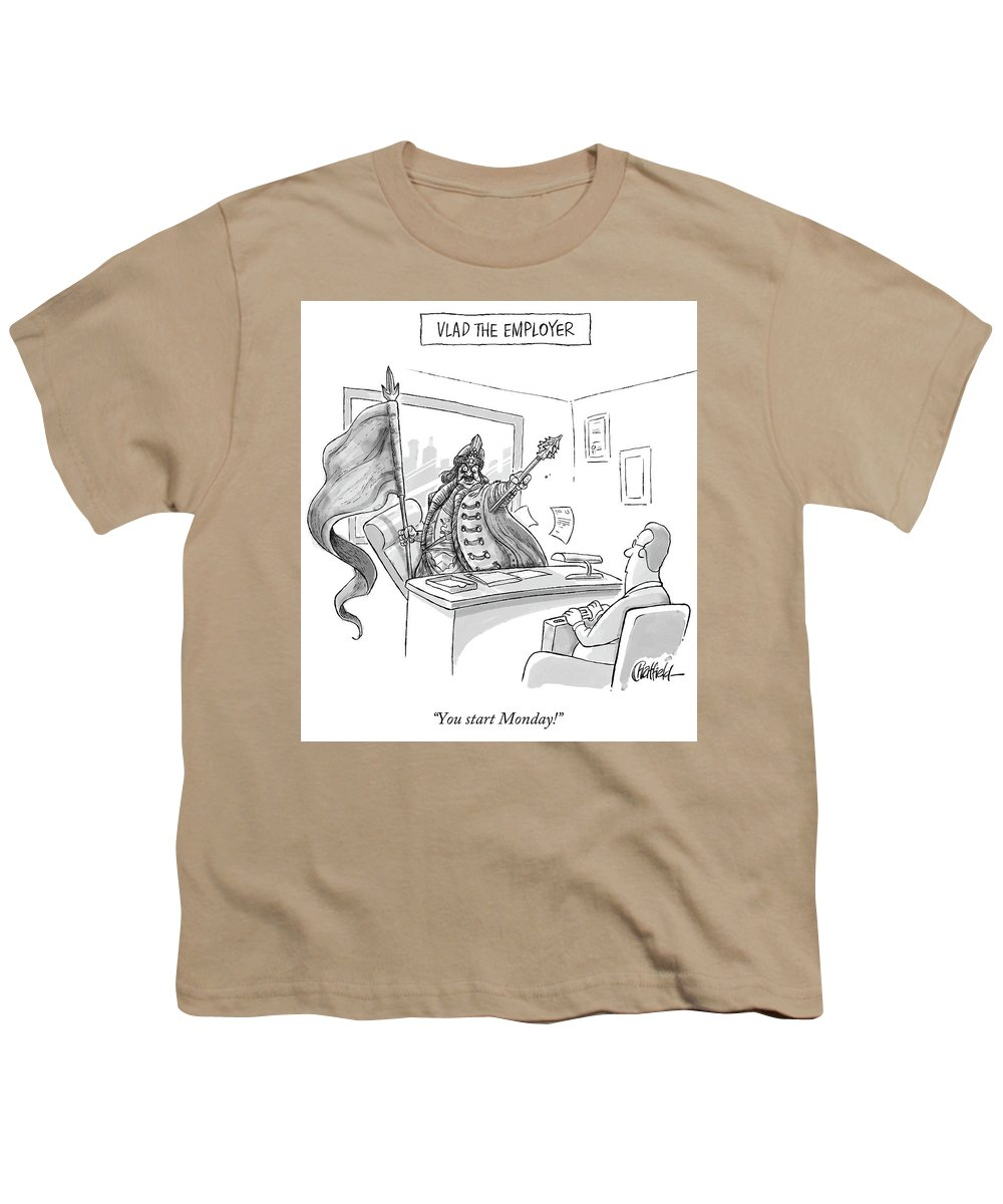 Monday Youth T-Shirt featuring the drawing Vlad The Employer by Jason Chatfield