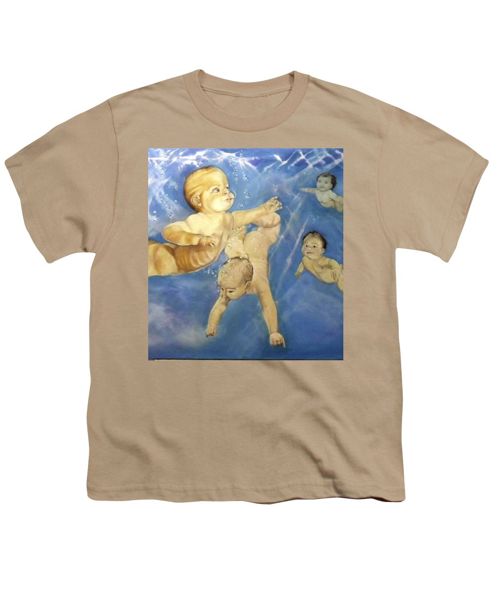 Babies Youth T-Shirt featuring the painting Water Babies by Jane Simpson