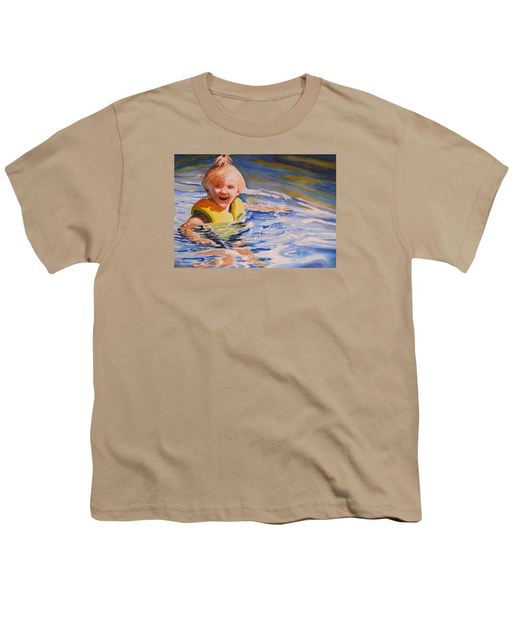 Swimming Youth T-Shirt featuring the painting Water Baby by Karen Stark