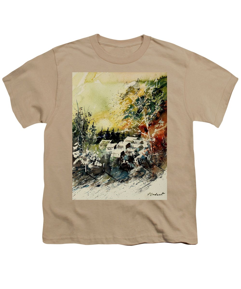 Village Youth T-Shirt featuring the painting Watercolor 130708 by Pol Ledent