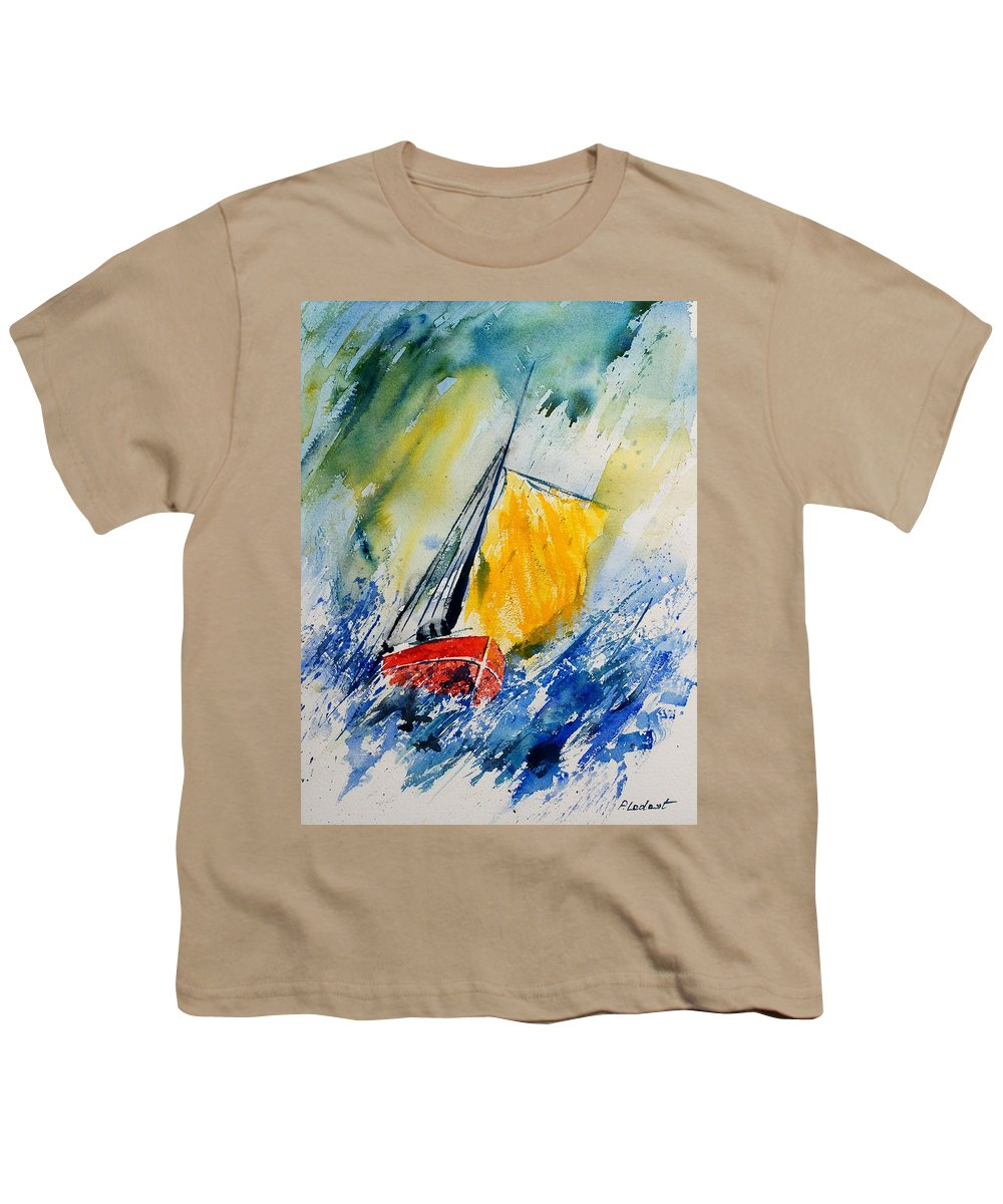 Sea Waves Ocean Boat Sailing Youth T-Shirt featuring the painting Watercolor 280308 by Pol Ledent
