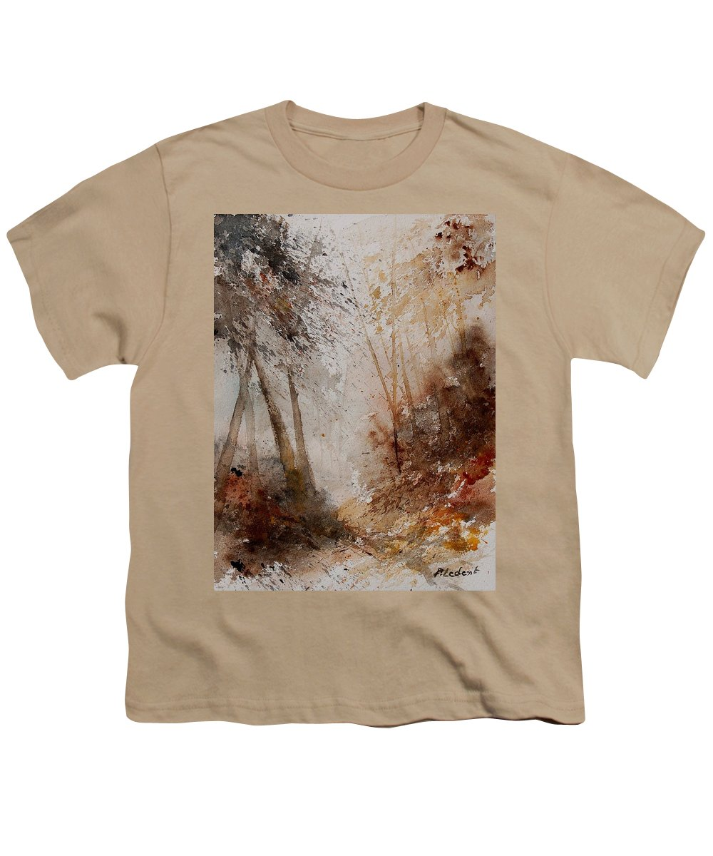 Landscape Youth T-Shirt featuring the painting Watercolor Misty Path by Pol Ledent
