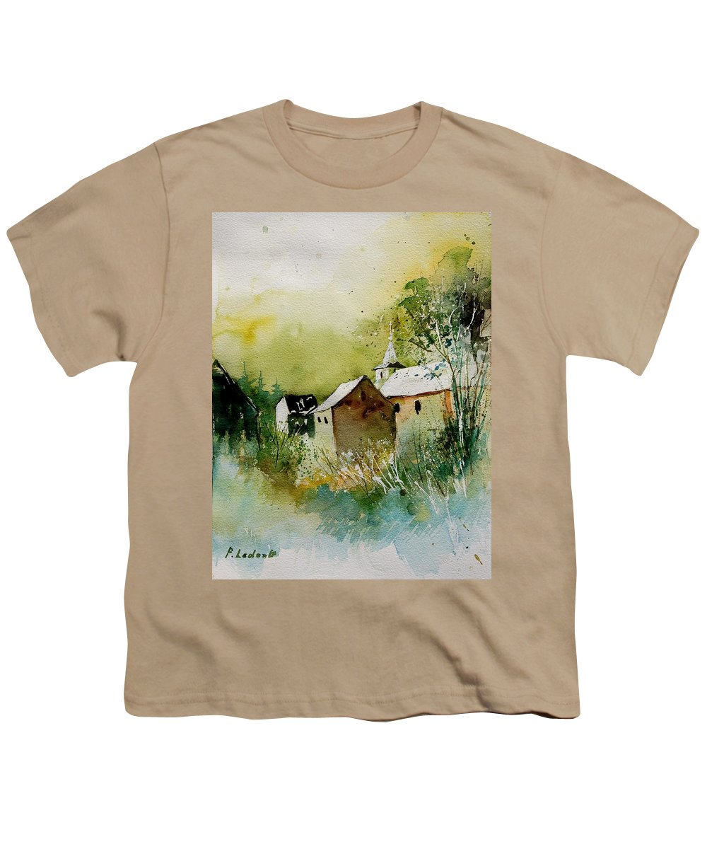 Landscape Youth T-Shirt featuring the painting Watercolor Sosoye by Pol Ledent