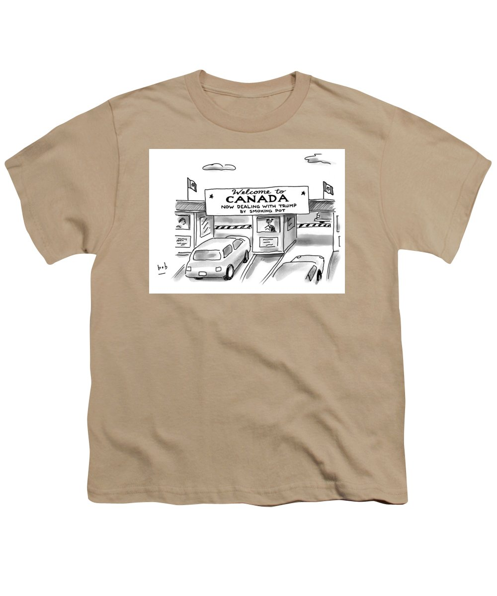 Welcome To Canada Youth T-Shirt featuring the drawing Welcome To Canada by Bob Eckstein