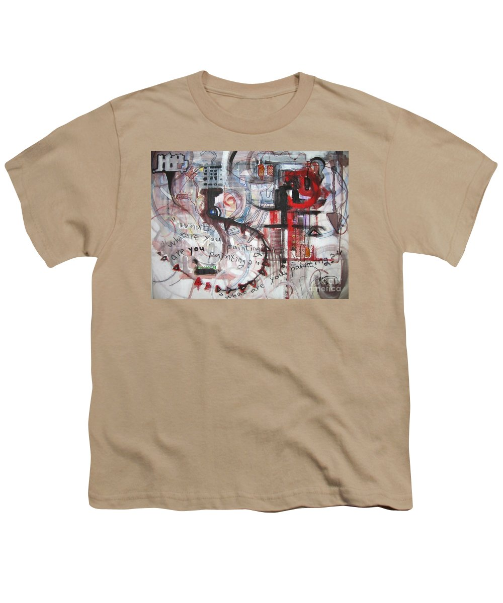 Abstract Paintings Youth T-Shirt featuring the painting What Are You Painting-red And Brown Painting by Seon-Jeong Kim