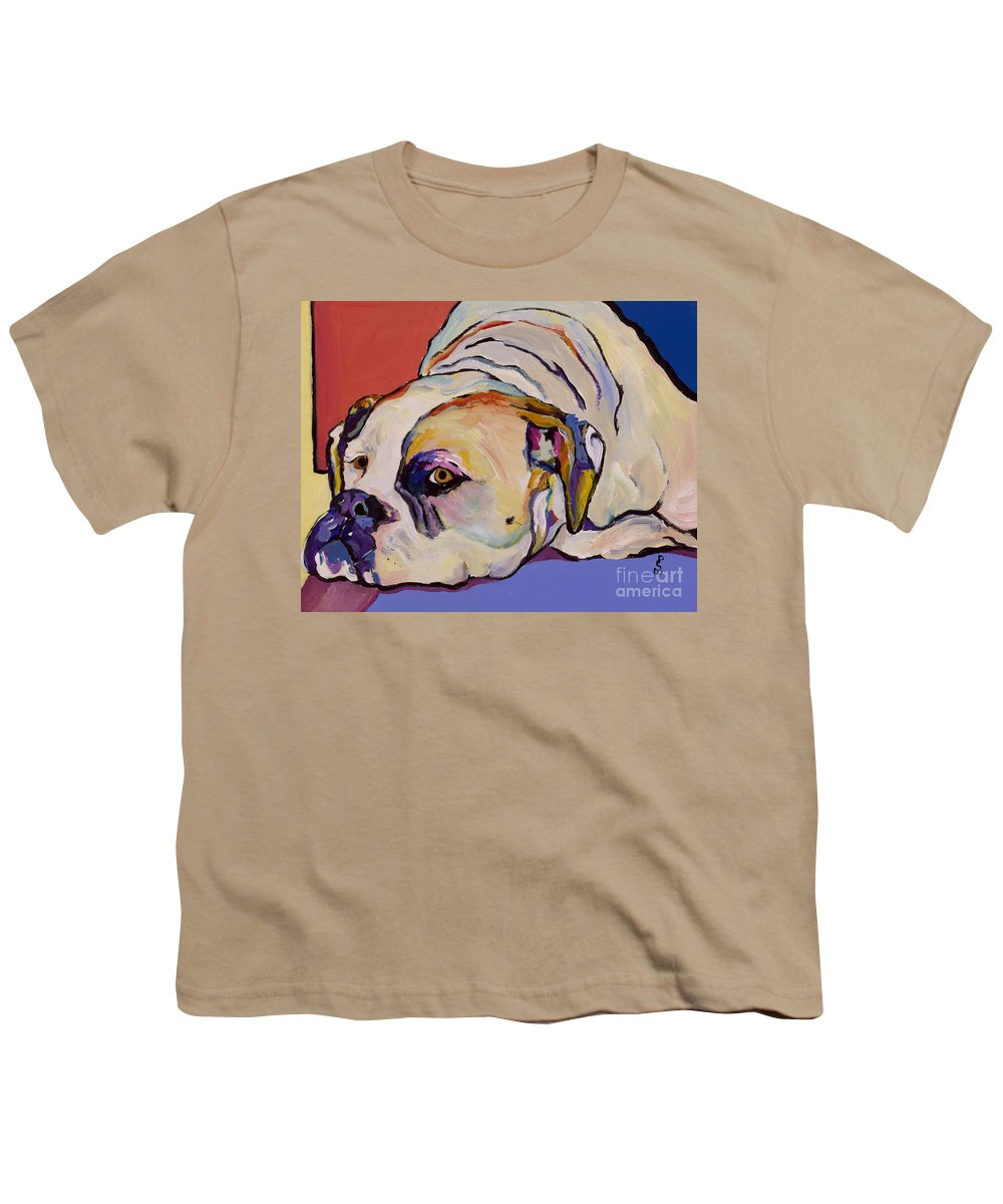 American Bulldog Youth T-Shirt featuring the painting Where Is My Dinner by Pat Saunders-White