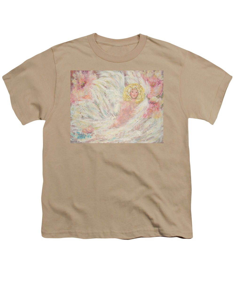 Angel Youth T-Shirt featuring the painting White Feathers Secret Garden Angel 4 by Natalie Holland