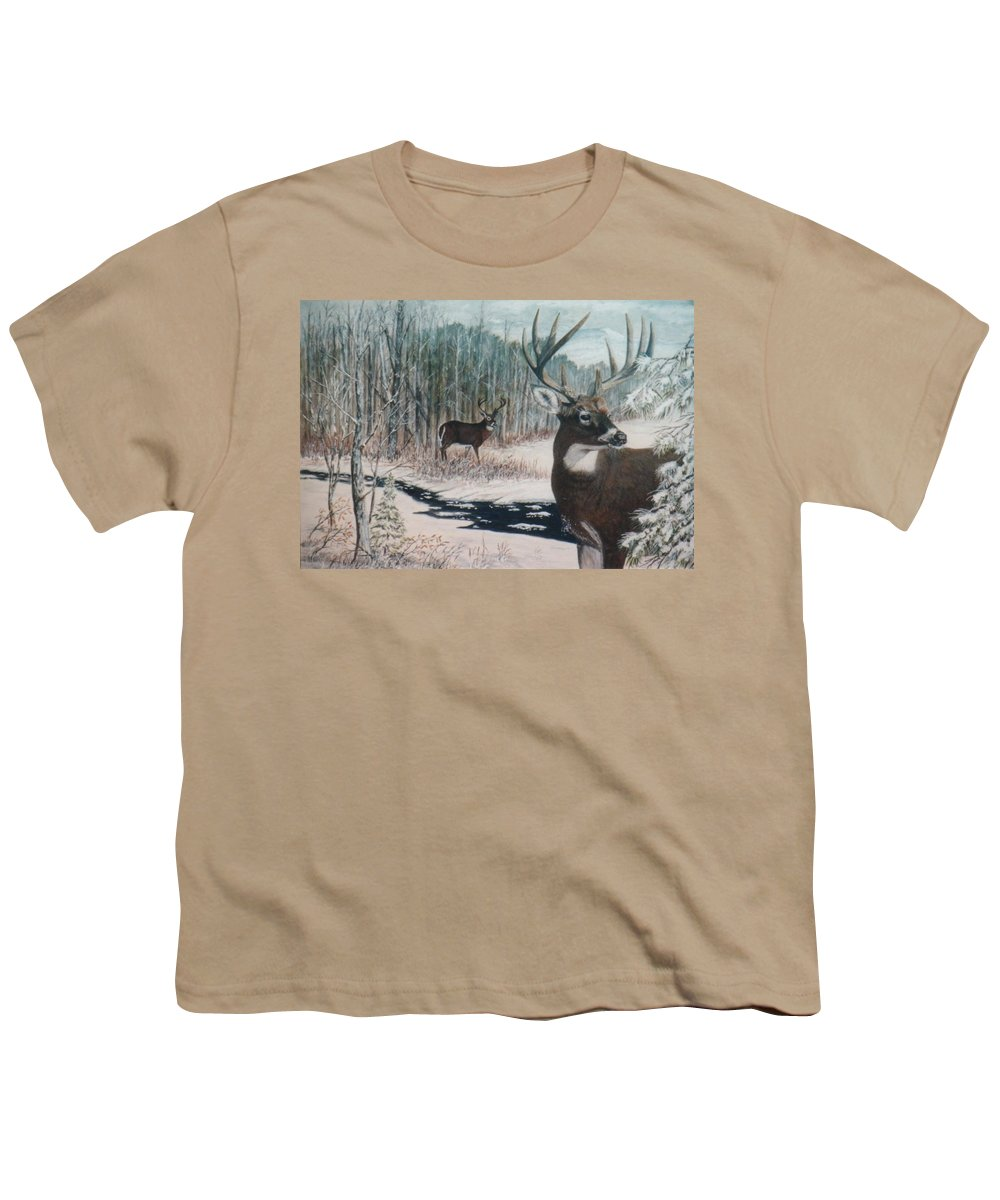 Deer; Snow; Creek Youth T-Shirt featuring the painting Whitetail Deer by Ben Kiger