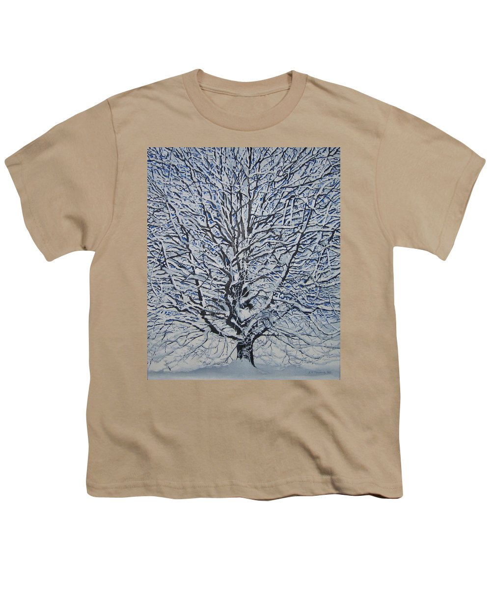 Winter Youth T-Shirt featuring the painting Winter '05 by Leah Tomaino