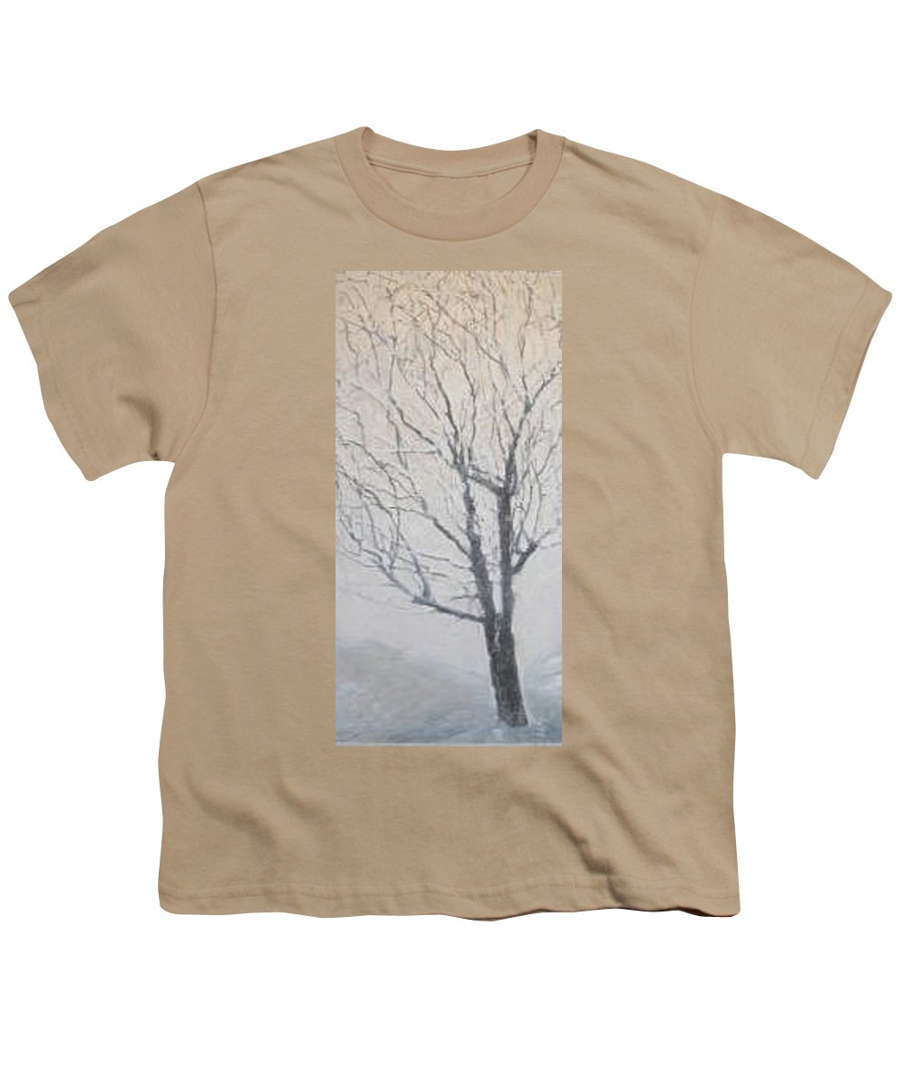 Tree Youth T-Shirt featuring the painting Winter by Leah Tomaino