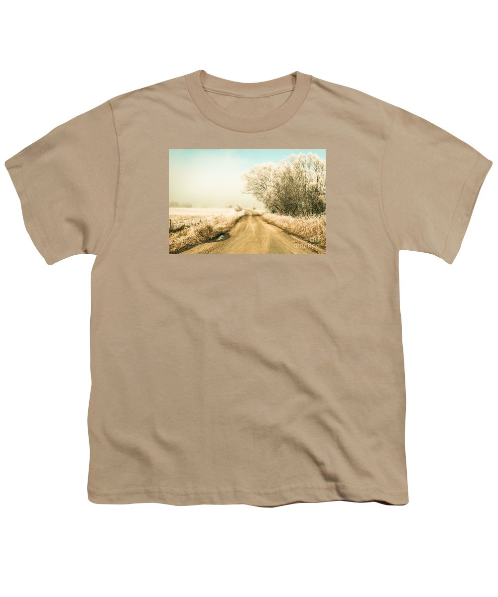Winter Youth T-Shirt featuring the photograph Winter Road Wonderland by Jorgo Photography - Wall Art Gallery