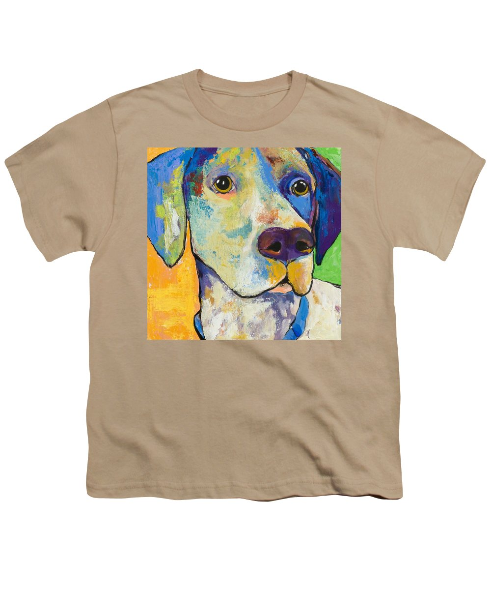 German Shorthair Animalsdog Blue Yellow Acrylic Canvas Youth T-Shirt featuring the painting Yancy by Pat Saunders-White