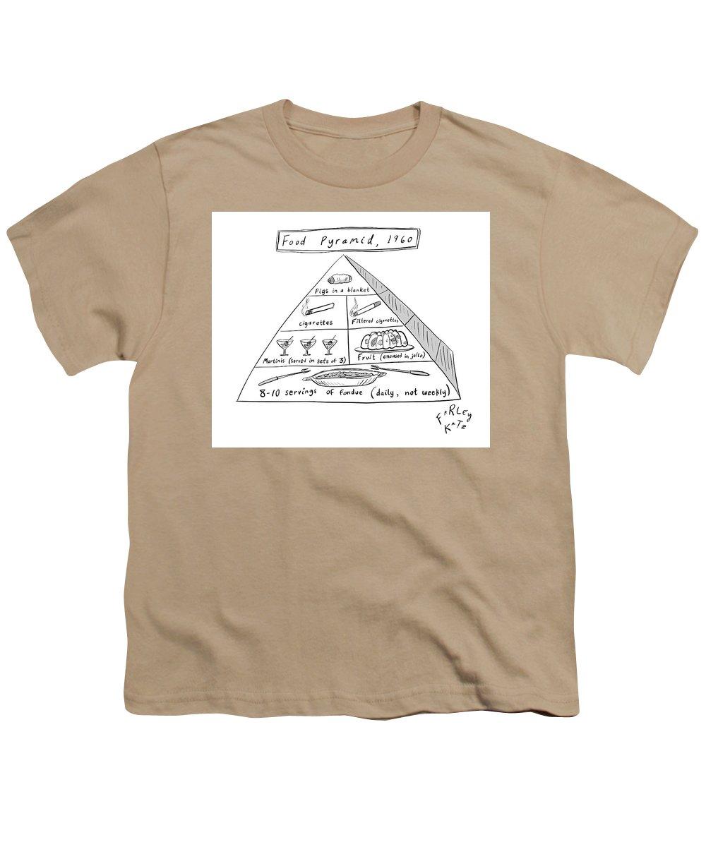 Food Pyramid Youth T-Shirt featuring the drawing 1960s Food Pyramid by Farley Katz