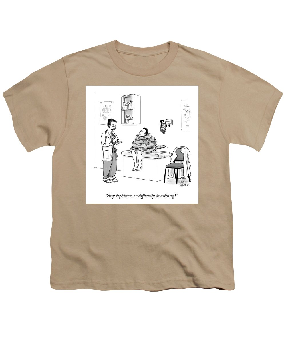 Any Tightness Or Difficulty Breathing? Youth T-Shirt featuring the drawing Any Tightness? by Sofia Warren