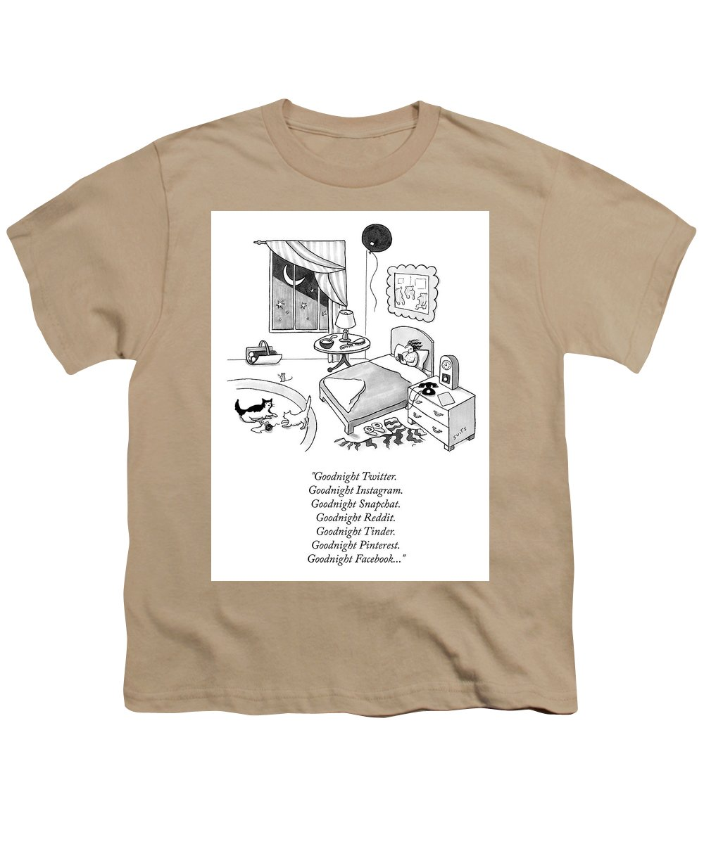 Goodnight Twitter. Goodnight Instagram. Goodnight Snapchat. Goodnight Reddit. Goodnight Tinder. Goodnight Pinterest. Goodnight Facebook...goodnight Moon Youth T-Shirt featuring the drawing Goodnight Instagram by Julia Suits