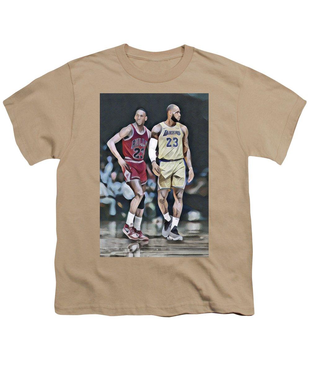 44e401a025bb Michael Jordan Vs Lebron James Abstract Art 1 Youth T-Shirt for Sale by Joe  Hamilton