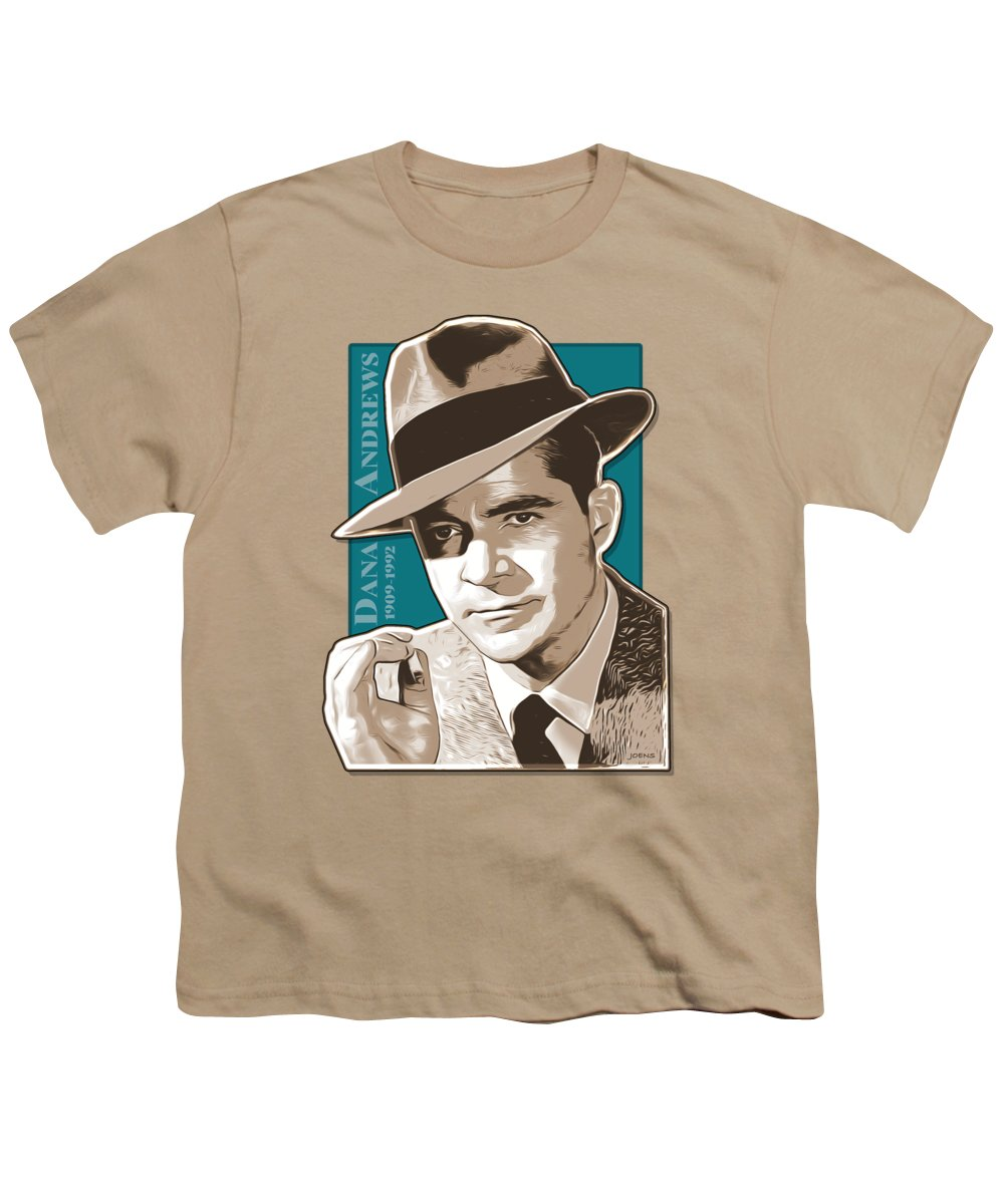 Dana Andrews Youth T-Shirt featuring the digital art Dana Andrews Pop Art by Greg Joens