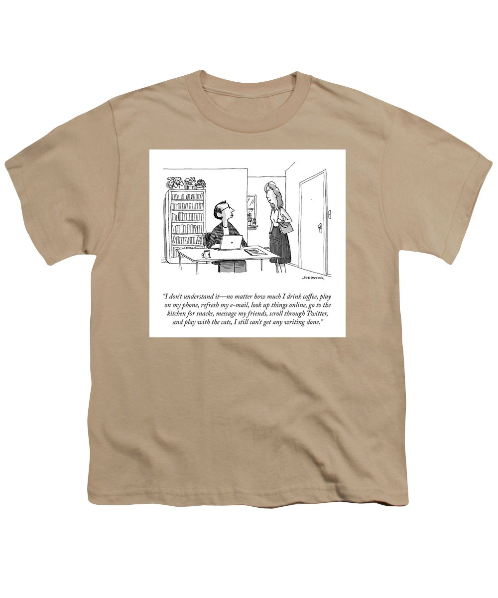 """""""i Don't Understand It—no Matter How Much I Drink Coffee Youth T-Shirt featuring the drawing I Don't Understand It by Joe Dator"""