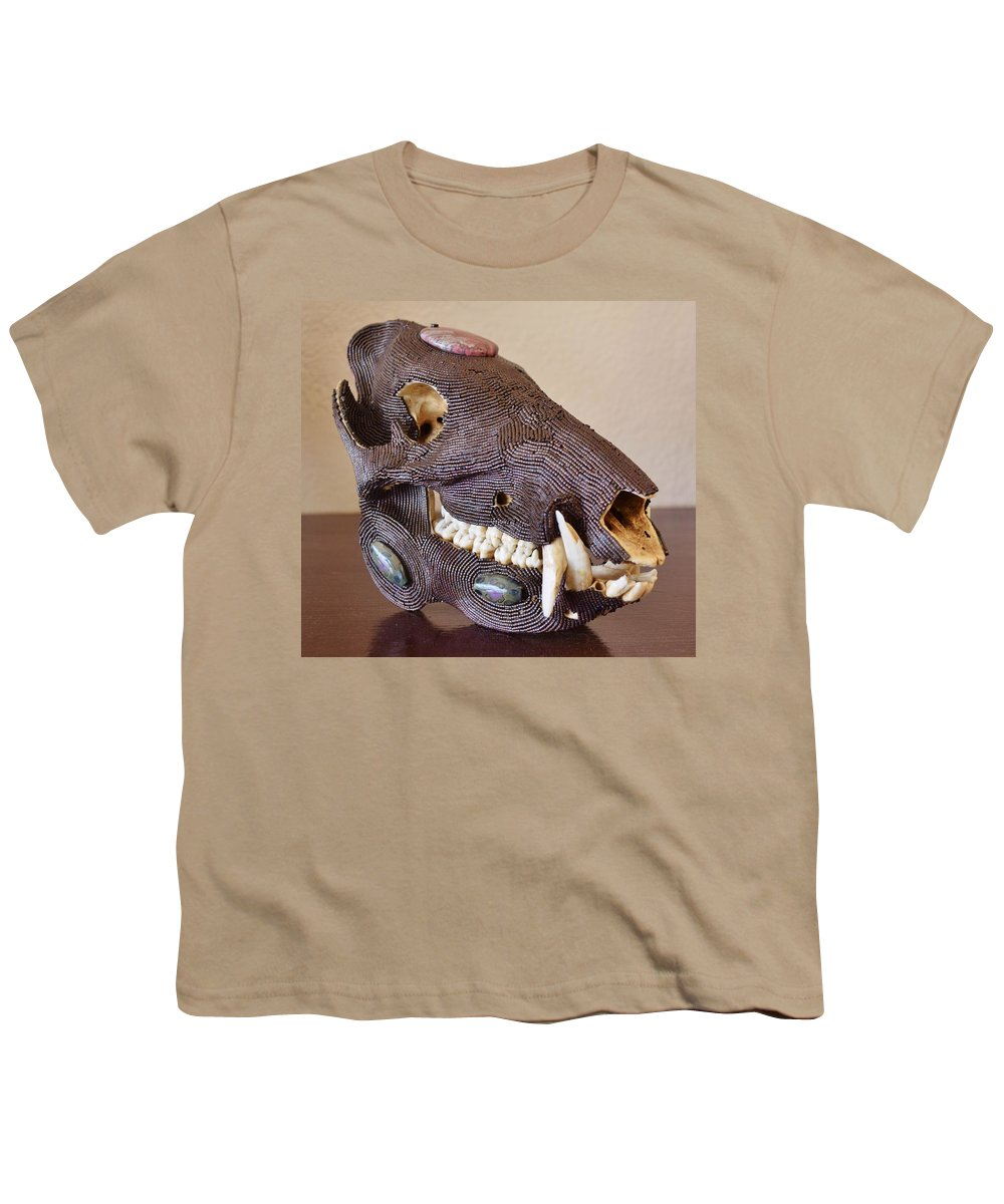 Beads Youth T-Shirt featuring the mixed media Javelina by Charla Van Vlack