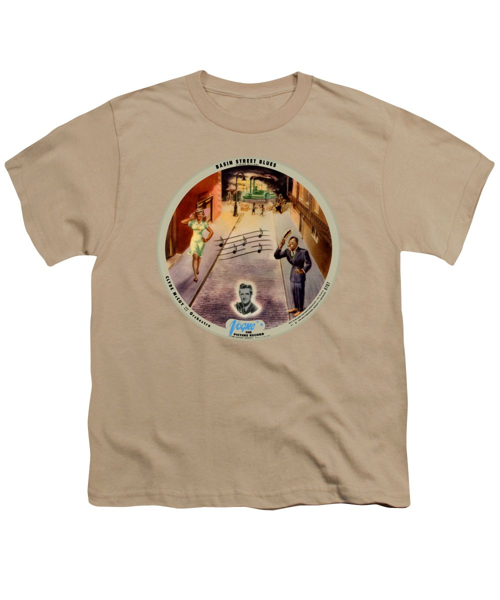 Vogue Picture Record Youth T-Shirt featuring the digital art Vogue Record Art - R 707 - P 7, Blue Logo - Square Version by John Robert Beck