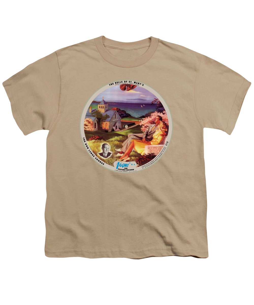Vogue Picture Record Youth T-Shirt featuring the digital art Vogue Record Art - R 710 - P 9, Blue Logo - Square Version by John Robert Beck