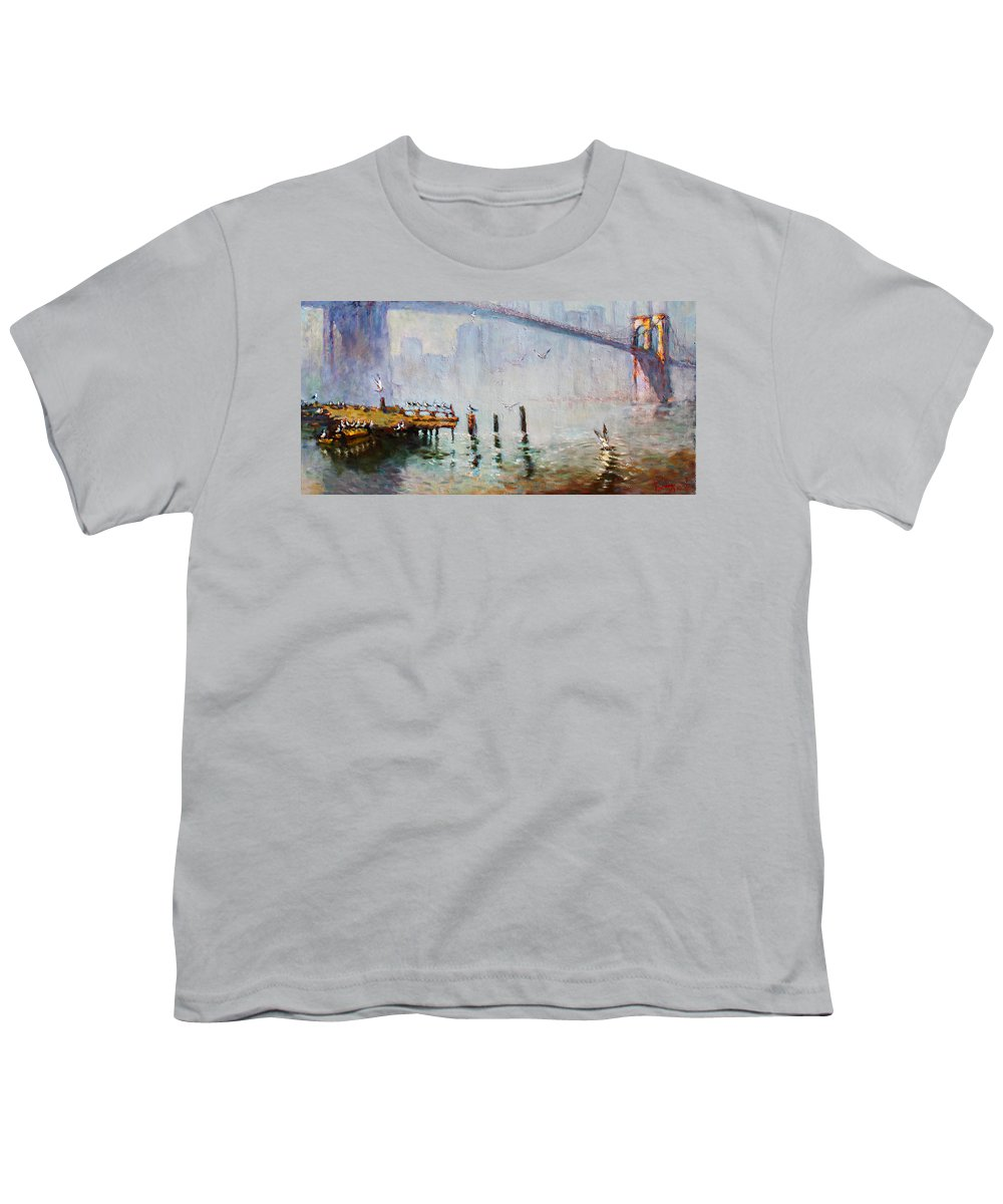 Brooklyn Bridge Youth T-Shirt featuring the painting Brooklyn Bridge in a Foggy Morning  by Ylli Haruni