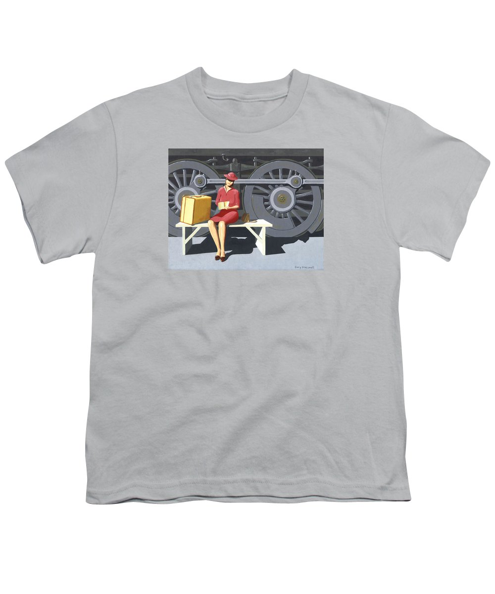 Woman Youth T-Shirt featuring the painting Woman With Locomotive by Gary Giacomelli