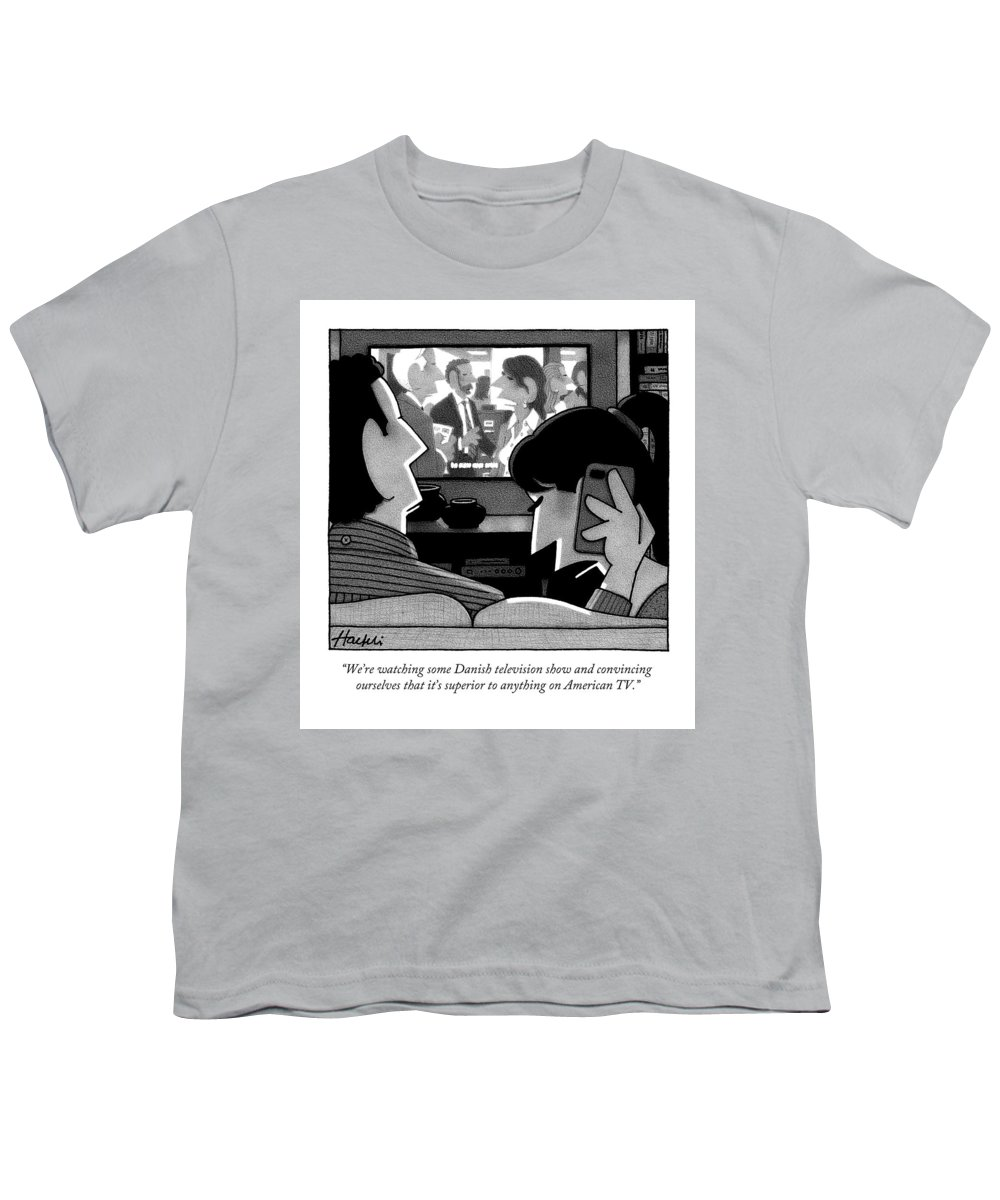 Pretentious Youth T-Shirt featuring the drawing A Woman Speaks On The Phone by William Haefeli