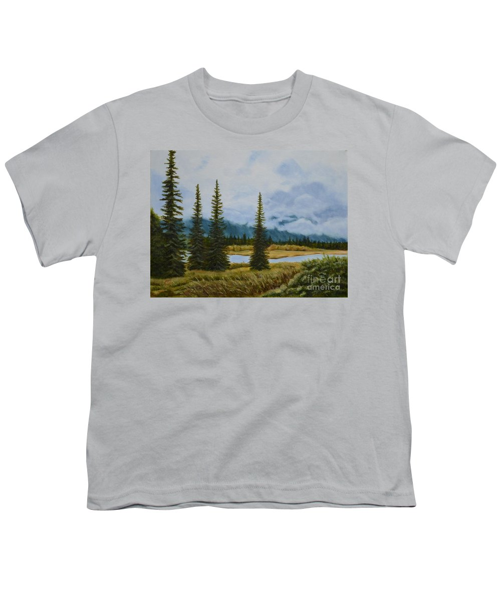 Usa Youth T-Shirt featuring the painting Denali Morning by Mary Rogers
