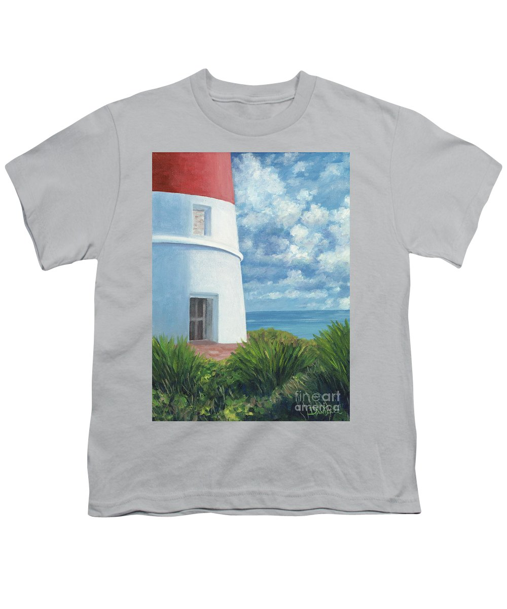Seascape Youth T-Shirt featuring the painting Gun Cay Lighthouse by Danielle Perry