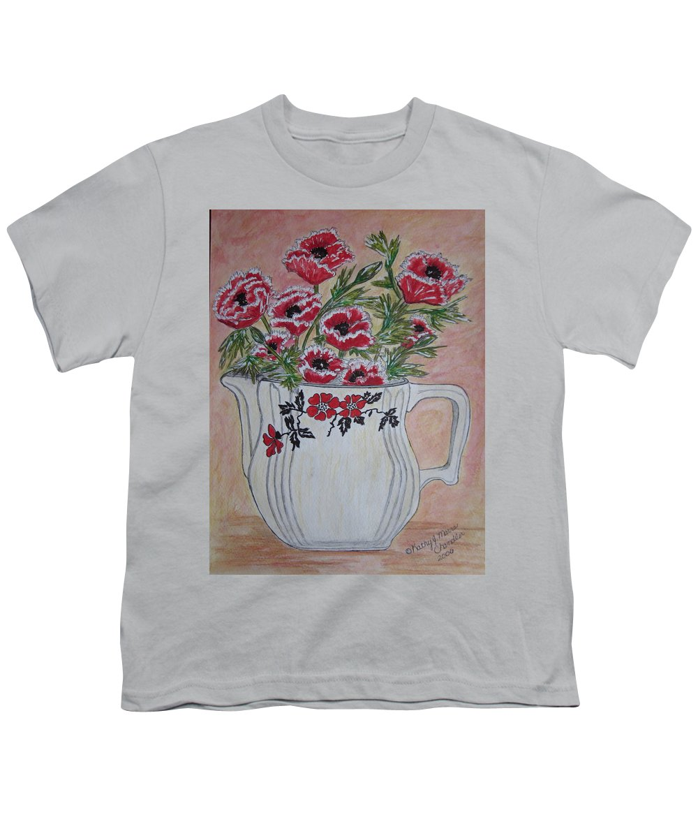 Hall China Youth T-Shirt featuring the painting Hall China Red Poppy And Poppies by Kathy Marrs Chandler