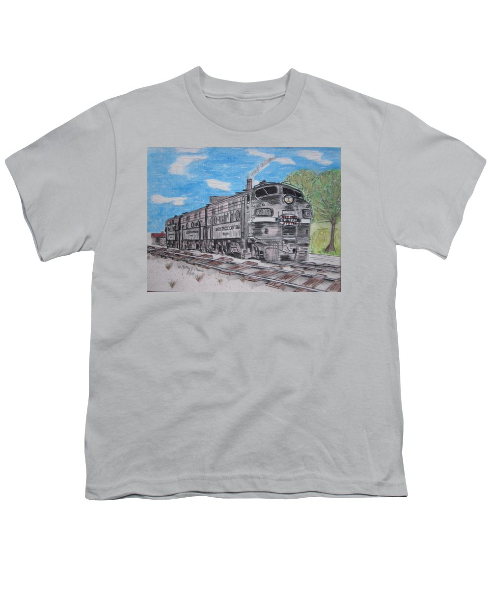 New York Youth T-Shirt featuring the painting New York Central Train by Kathy Marrs Chandler