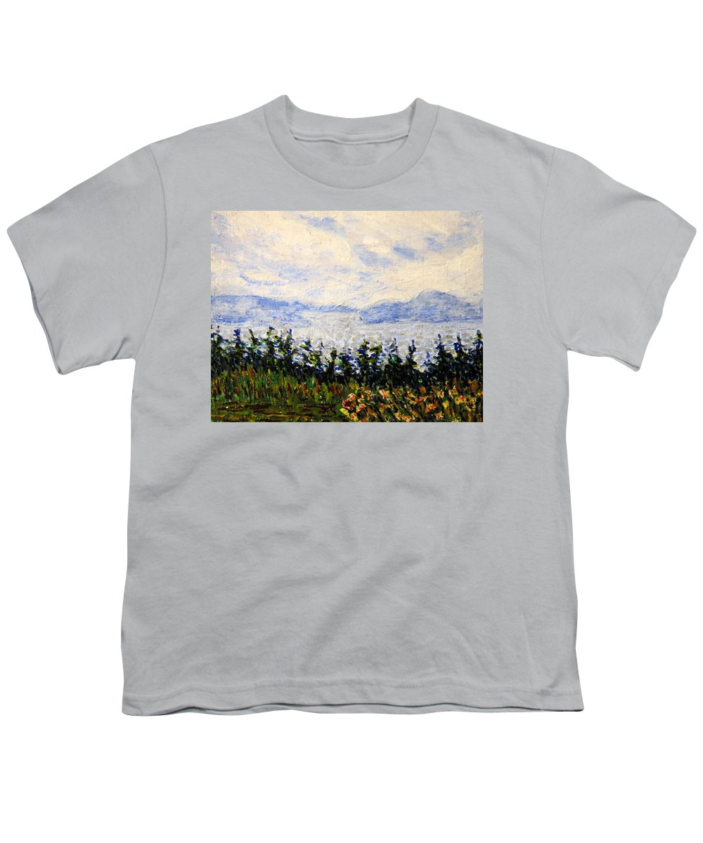 Newfoundland Youth T-Shirt featuring the painting Newfoundland Up The West Coast by Ian MacDonald