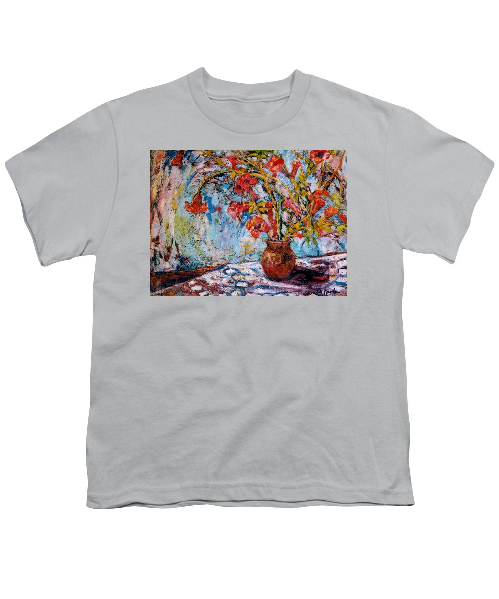 Trumpet Flowers Youth T-Shirt featuring the painting Orange Trumpet Flowers by Kendall Kessler