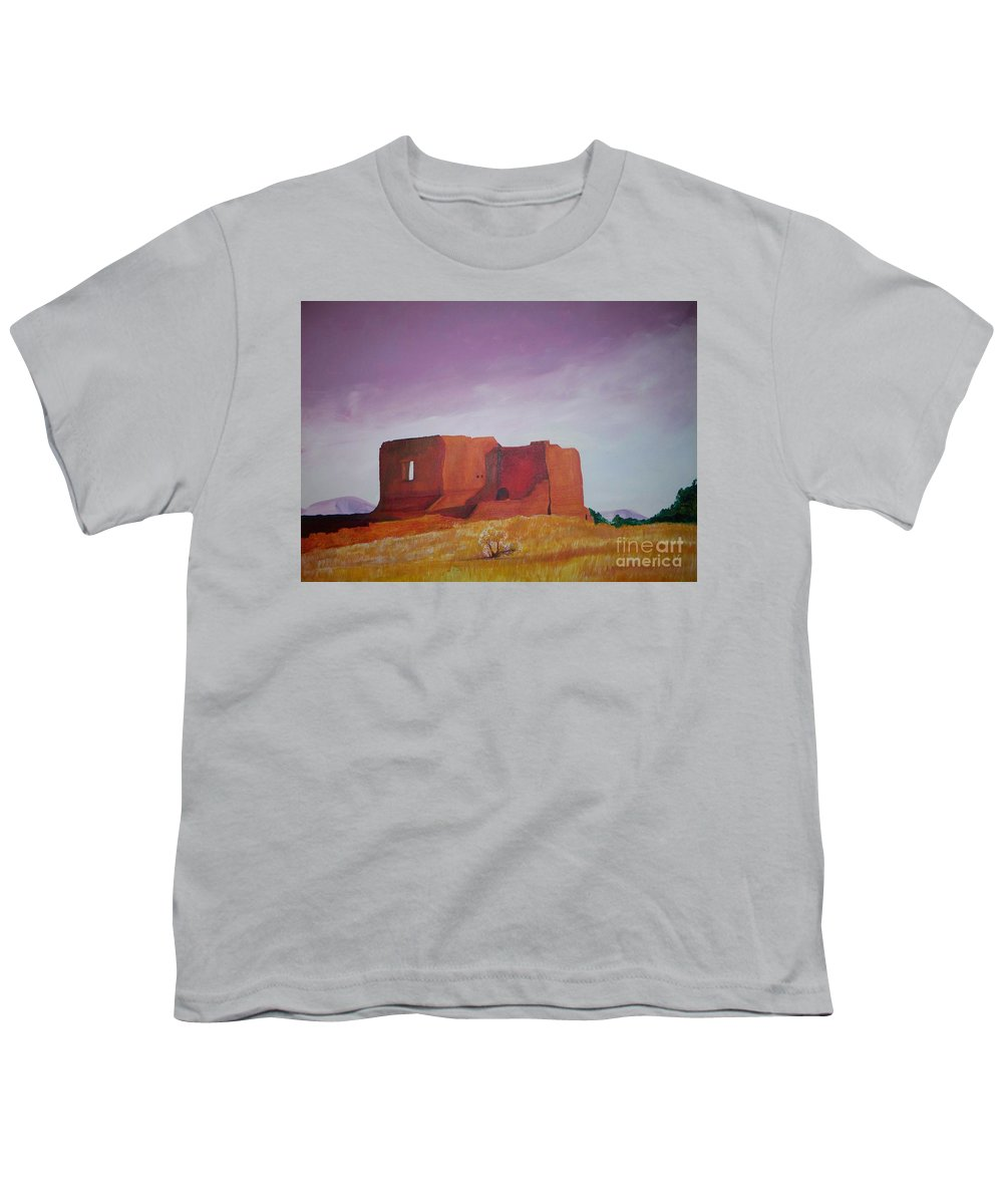 Western Youth T-Shirt featuring the painting Pecos Mission Landscape by Eric Schiabor