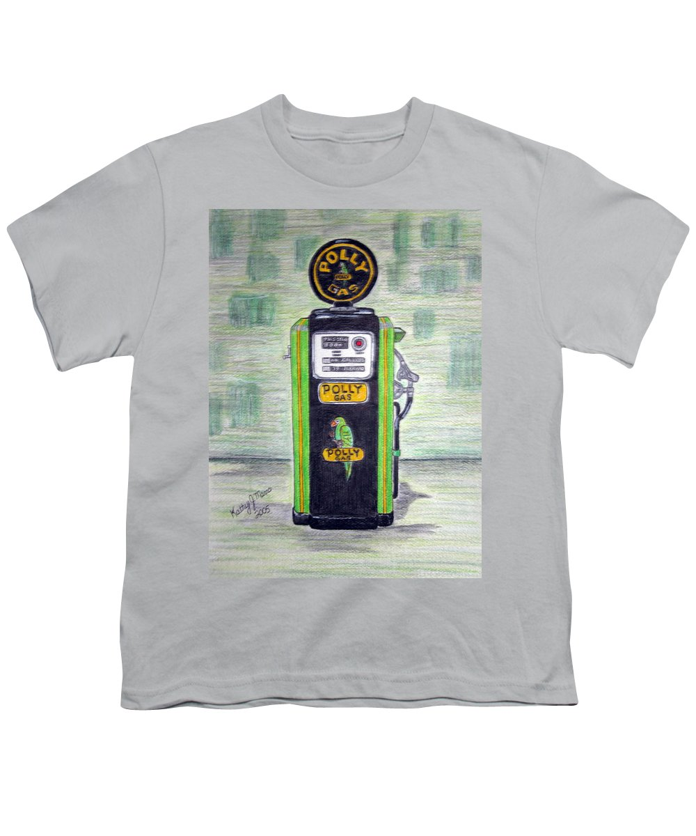 Parrot Youth T-Shirt featuring the painting Polly Gas Pump by Kathy Marrs Chandler