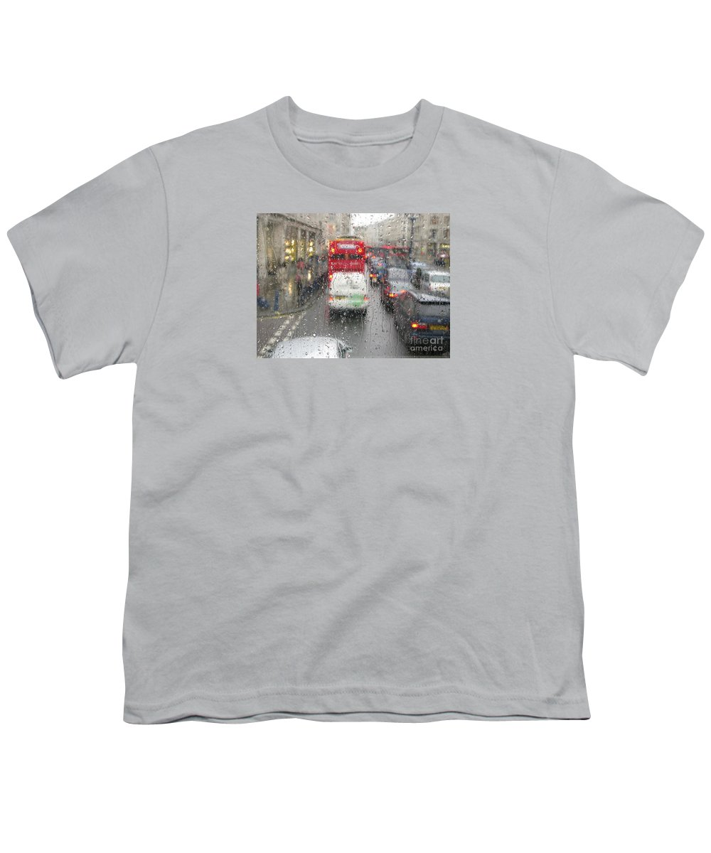 Rainy Day London Traffic By Ann Horn Youth T-Shirt featuring the photograph Rainy Day London Traffic by Ann Horn