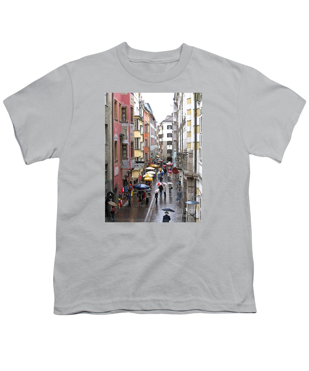 Innsbruck Youth T-Shirt featuring the photograph Rainy Day Shopping by Ann Horn