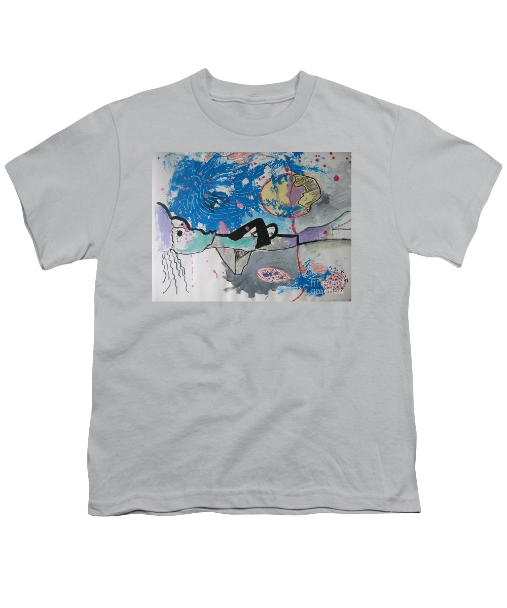 Abstract Paintings Youth T-Shirt featuring the painting Read My Mind2 by Seon-Jeong Kim