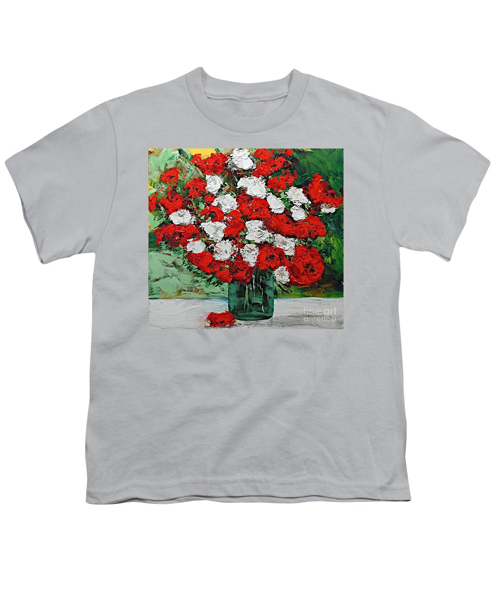 Landscape Youth T-Shirt featuring the painting Red Explosion by Allan P Friedlander