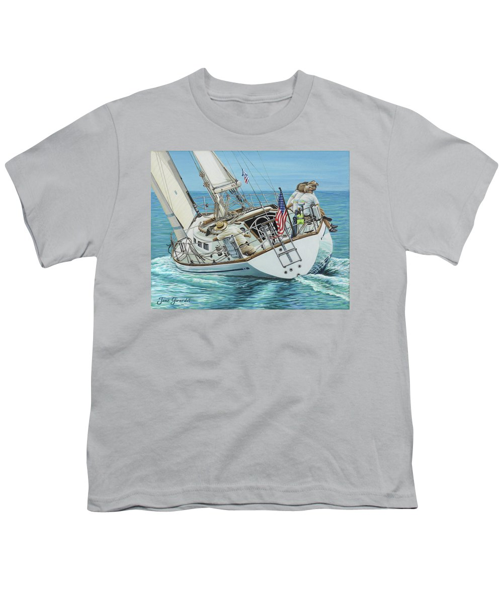 Ocean Youth T-Shirt featuring the painting Sailing Away by Jane Girardot